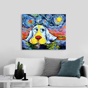 AAVV pintura de pared arte lienzo cuadros Animal estampado estrella noche perro para sala de estar decoración del hogar sin marco