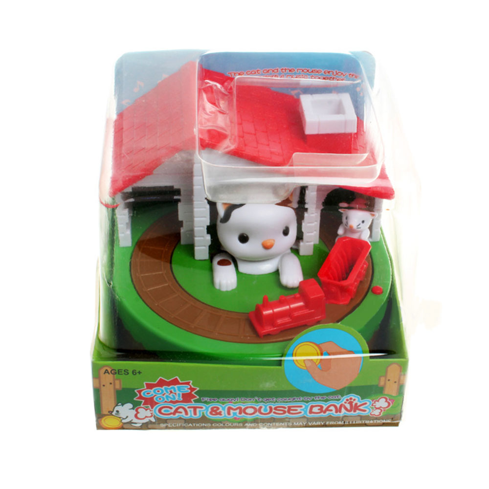 Stealing Coin Cat Mouse Coins Penny Cents Piggy Bank Saving Box Money Box Kid