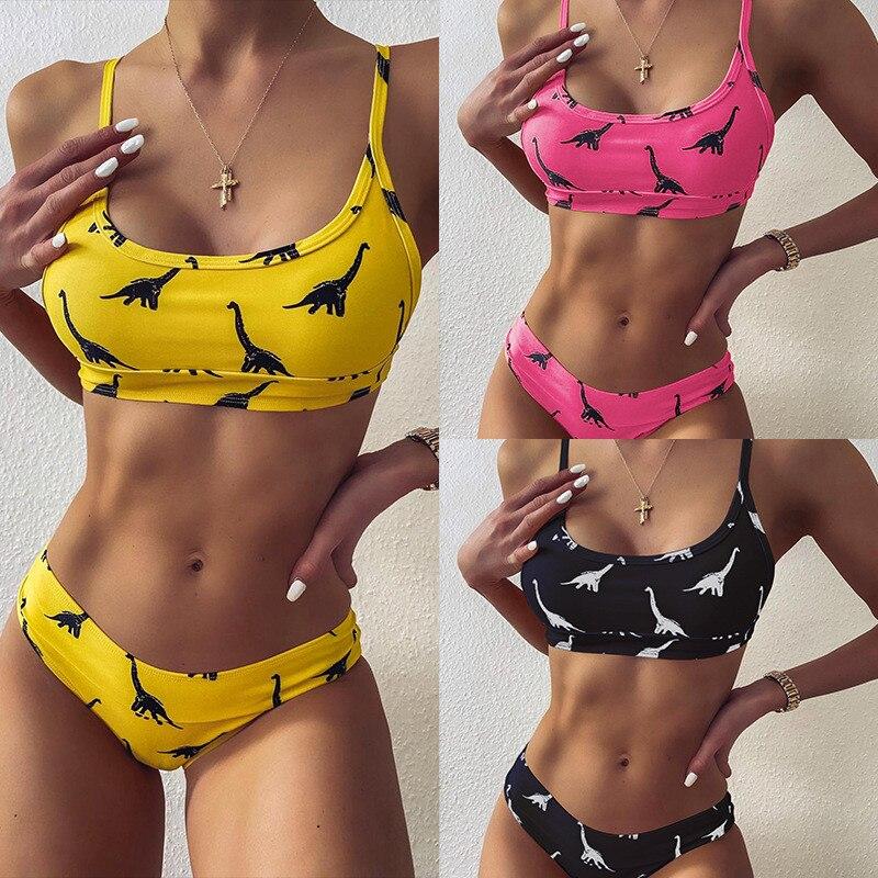 2020 mujer biquini Print dinosaur Women Swimwear Swimsuit Sexy Bikini Set Crop Top Girl Lady Beachwear Swimsuit Bathing Suits