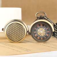 Mechanical Pocket Watch Retro Hollow Cover Special Double Turntable Capping Hand Windind Men Steampunk Watch Bronze 30cm Chain