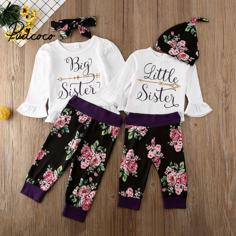 Pudcoco Floral Kid Baby Girl 2020 Spring New Years Big Sister And Little Sister Matching Clothes Girls Letter Print Family Set