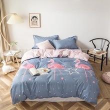 Flamingo Star Dot Gray Girl Boy Bed Cover Set Duvet Cover Adult Child Bed Sheet and Pillowcases Comforter Bedding Set 61078