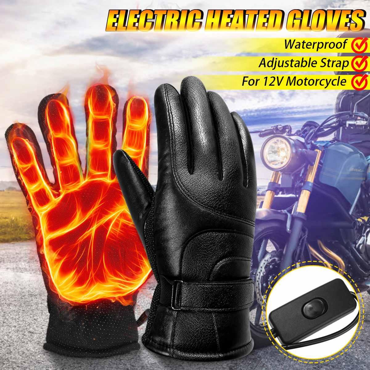 12 В PU перчатки с электрическим подогревом с сенсорным экраном мотоциклетные зимние аккумуляторные теплые перчатки для велоспорта и катания на лыжах Зимние перчатки