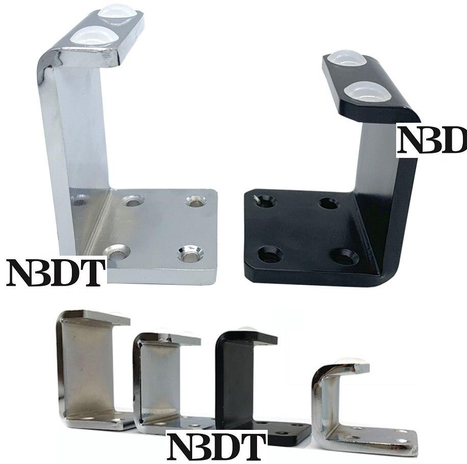 2Pcs/Lot Silver Matte Black Heavy-duty Carbon Steel Cabinet Sofa Cupboard Cabinet Furniture Bed Feet Leg C Shape