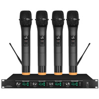 Wireless microphone microphone one for four conference system gooseneck / lavalier type head mounted professional performance