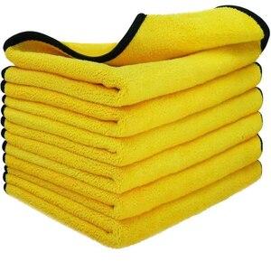 Image 1 - 3/5/10 Pcs Microfiber Handdoeken Voor Auto S Auto Drogen Wassen Detaillering Buffing Polijsten Handdoek Met Pluche Edgeless Microfiber Doek