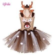 Платье пачка с рождественским оленем для девочек новогодний