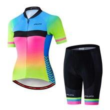 Женский комплект Джерси для велоспорта с коротким рукавом дышащая