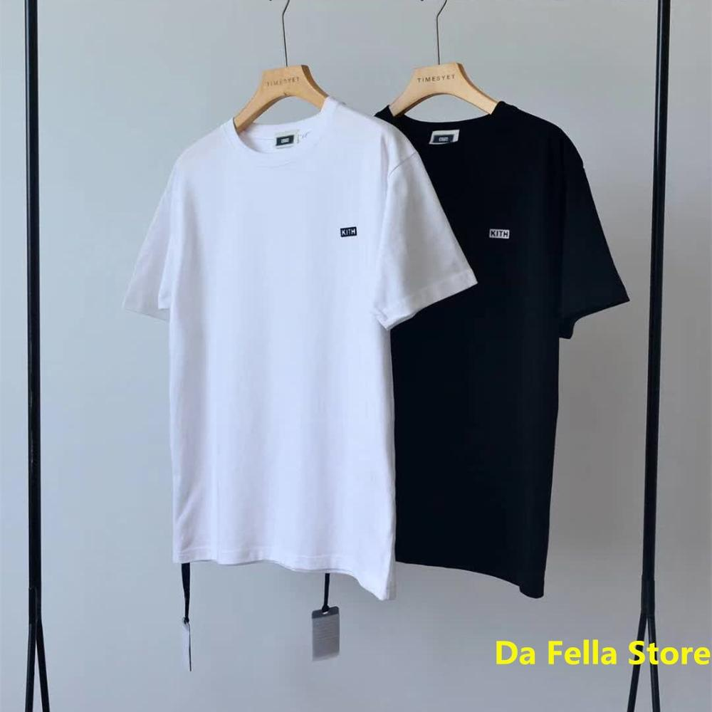 2020 Kith Tee Classic KITH Logo 1:1 Tag T-shirt Men Women Summer Streetwear Tops T-shirts High Quality Black/White Color