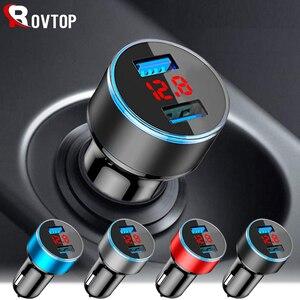 Image 1 - Rovtop 3.1A 5V Dual USB Car Charger Con Display A LED Universale Dellautomobile Del Telefono Caricatore per Xiaomi Samsung S8 iPhone X 8 Più Il Tablet