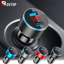 Rovtop 3.1A 5V 듀얼 USB 차량용 충전기와 LED 디스플레이 범용 전화 자동차 충전기 Xiaomi 삼성 S8 아이폰 X 8 플러스 태블릿