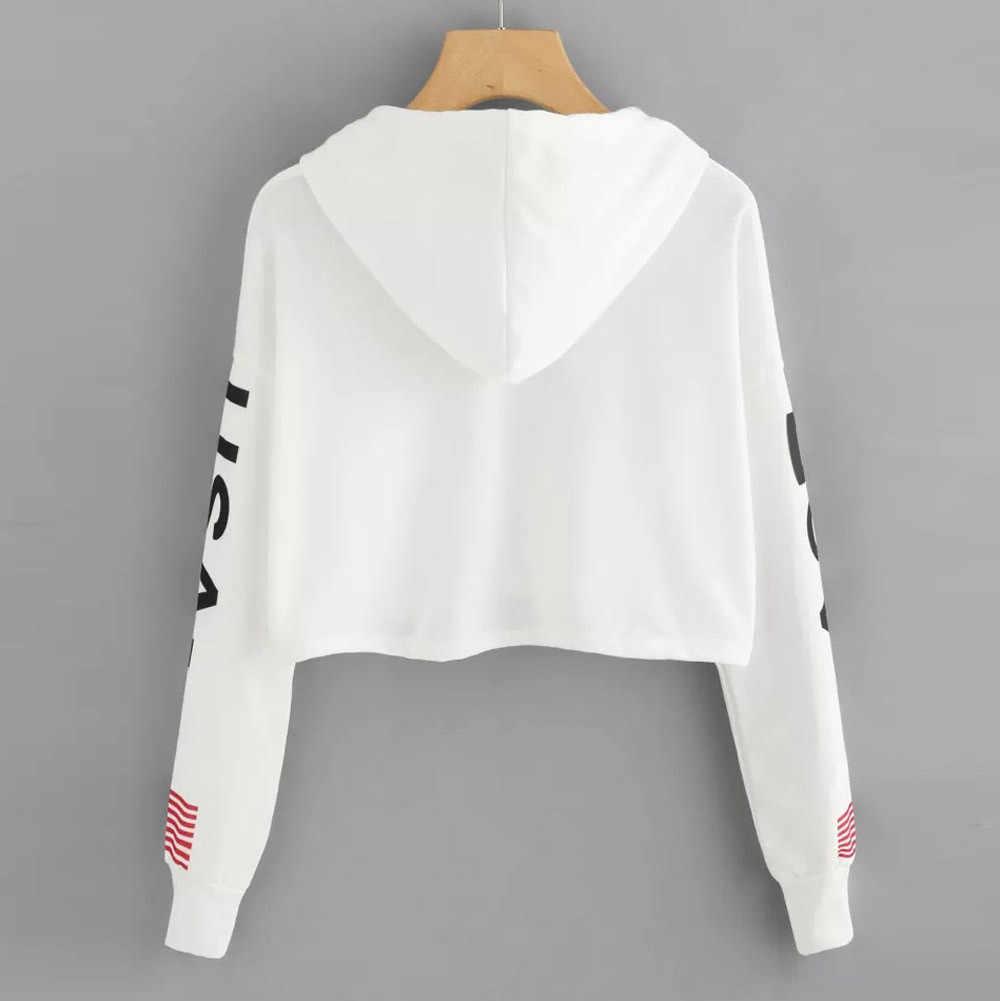 Vrouwen Hoodies Crop Top Amerikaanse Vlag Print Jumper Sweatshirt Herfst Lange Mouwen Truien Harajuku Hooded Losse Blouse Trainingspak