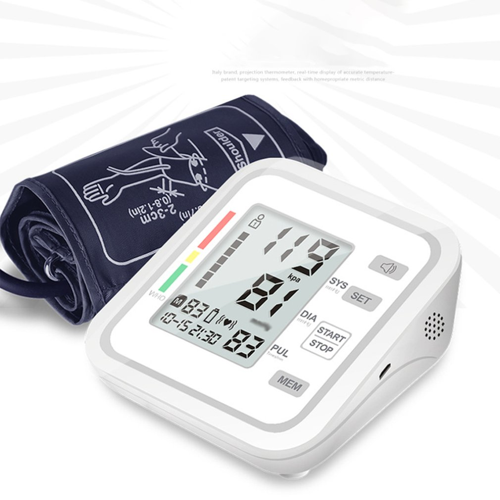 Monitor Automatic Digital LCD Display Wrist Blood Pressure Monitor Heart Beat Rate Pulse Meter Measure White Carry Health Care