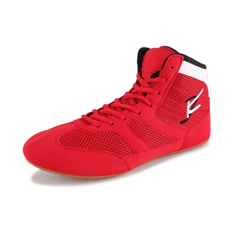 Мужская обувь для борьбы размера плюс 36-45, боксерская обувь для боевого искусства, резиновая подошва, дышащая, профессиональная экипировка для борьбы для женщин D0881 - Цвет: Красный