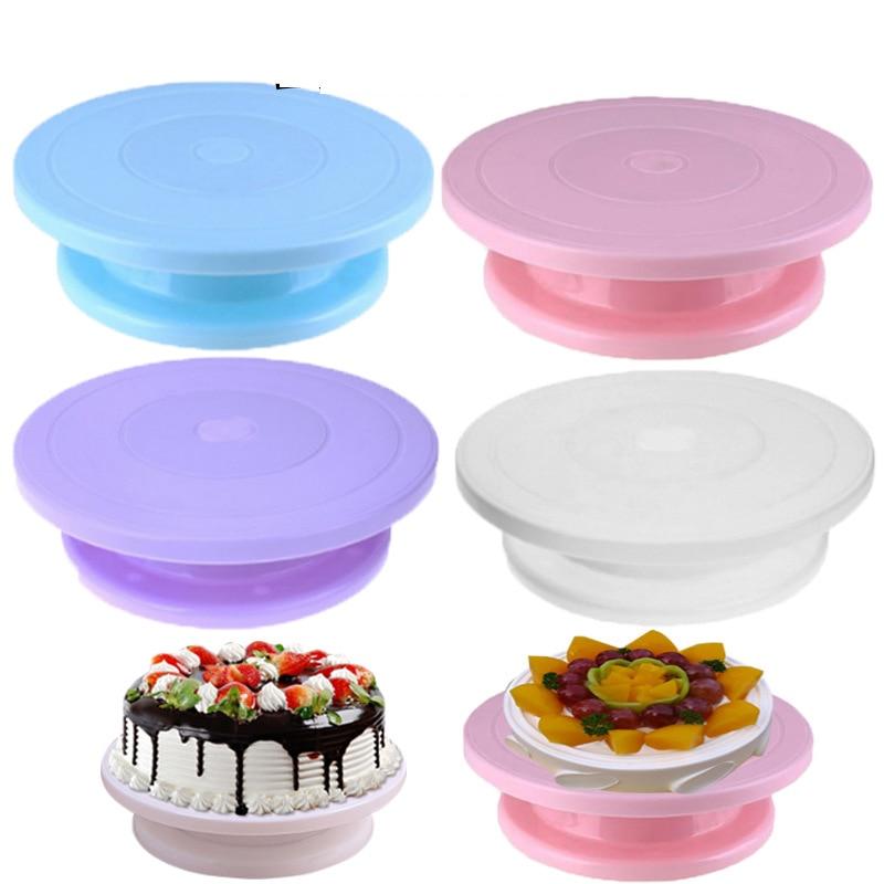 Пластиковая вращающаяся Антискользящая круглая подставка для украшения тортов, вращающаяся настольная тарелка для торта, кухонный инстру...