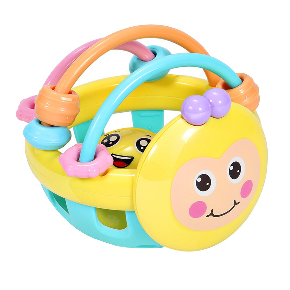 Bee Shape Educational Ball Baby Cartoon Toddler Rattle Toy Hand Game Knocking Soft Teether Dumbbell Interesting Developmental