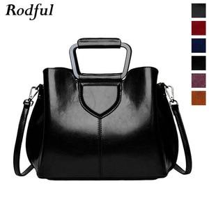 Image 2 - Женская сумка тоут из натуральной кожи, ручная сумка черного и винного цвета, 2019