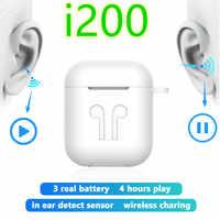 TWS i200 słuchawki bluetooth PK W1 H1 czujnik sterowana dotykiem słuchawki douszne Wirless ładowania PK i10 i10tws i12 i30 i60 i80 i100 i88 i99 TWS