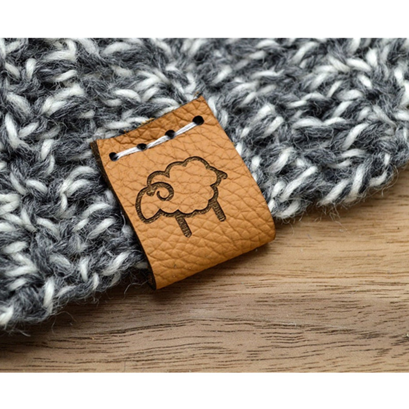 30pcs Leather tags for handmade items Personalised knitting crochet labels wih text logo Sew on clothing hat DIY label handcraft