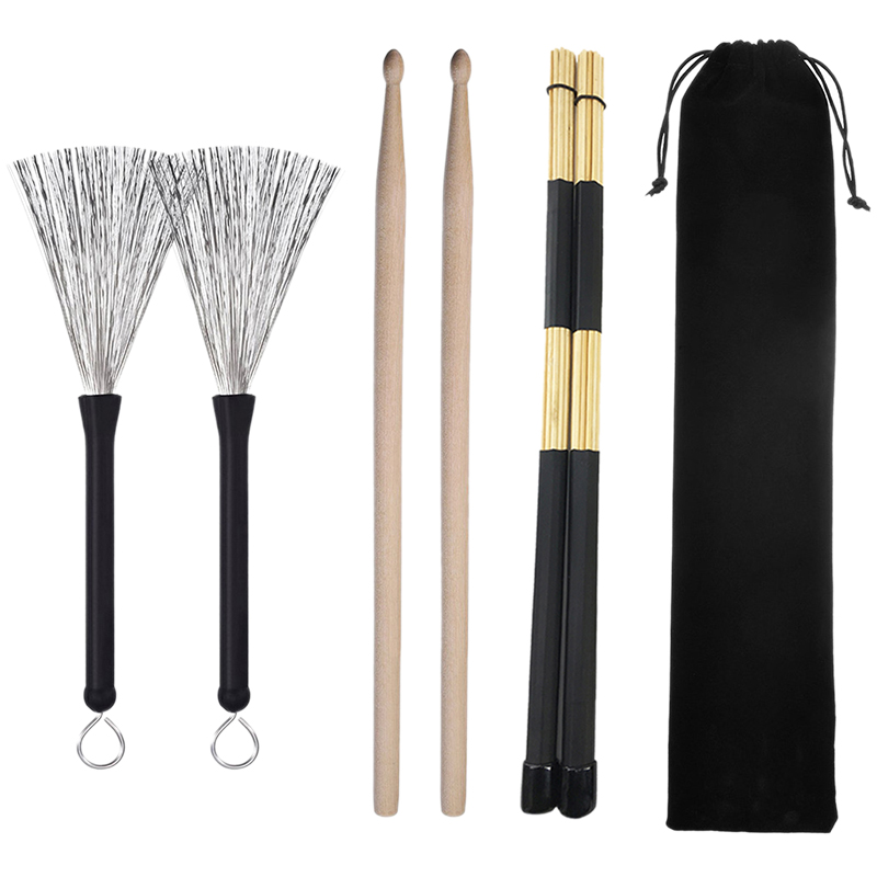Rods Drumsticks Drum Wire Brushes Drum Brushes Retractable Brushes Drumsticks Drum Brushes Set For Jazz Acoustic Music