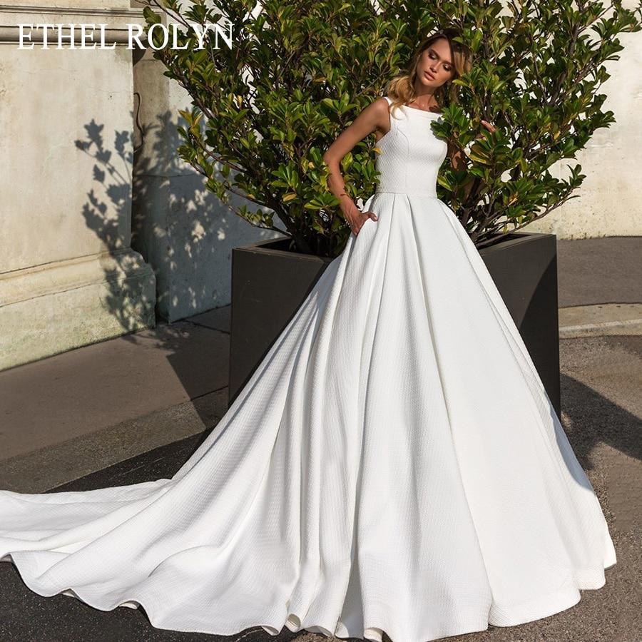 ETHEL ROLYN Romantic Boat Neck Sexy Backless Princess Wedding Dress A-Line Luxury Soft Satin Bridal Dress Vintage Wedding Gowns