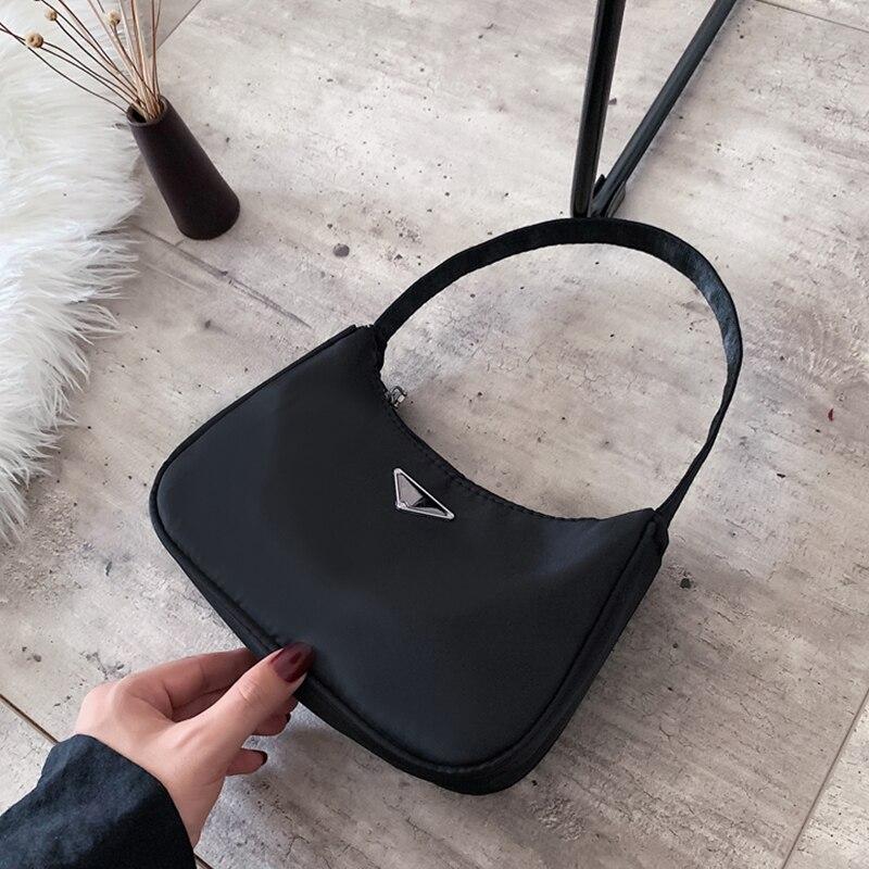 New Fashion Candy Color Moon Handbags For Women Simple Retro High Quality Nylon Baguette Bag Shoulder Bags For Women Handbag