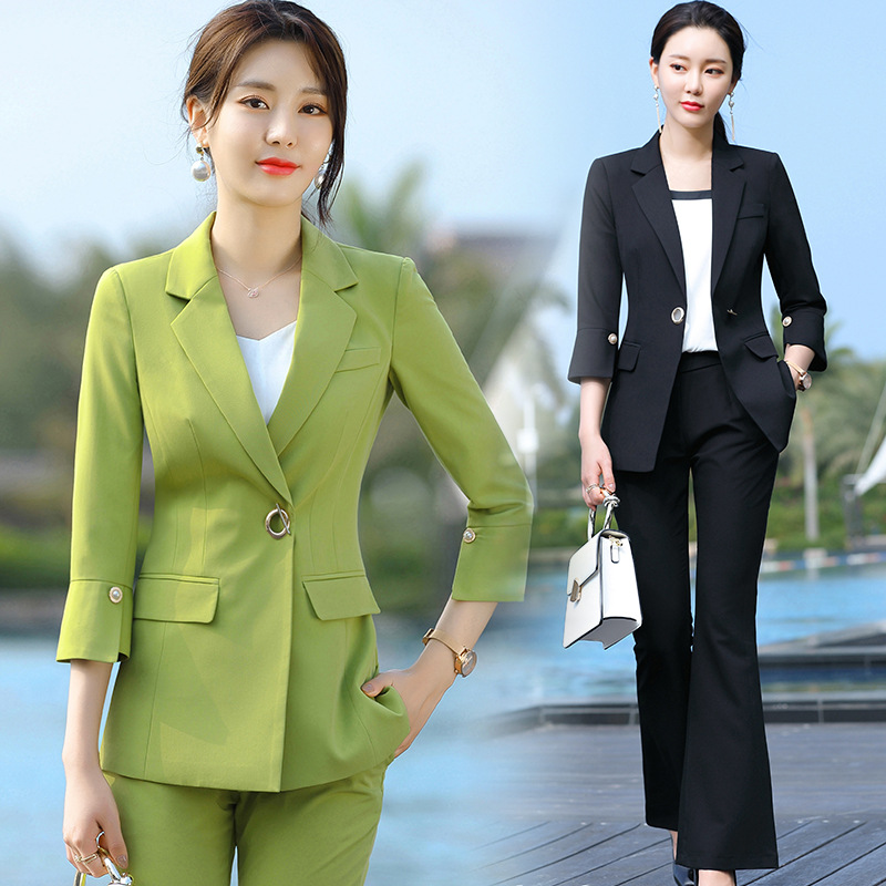 2020 Black Green Female Elegant Women's Suit Set Blazer And Trouser Big-leg Pant Business Uniform Clothing Lady Tops And Blouses