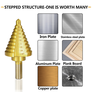 Image 3 - XCAN 5pcs HSS Titanuim Straight Flute Step Drill Bit Set Pagoda Shape Hole Cutter in Aluminum Case Core Drill Bit