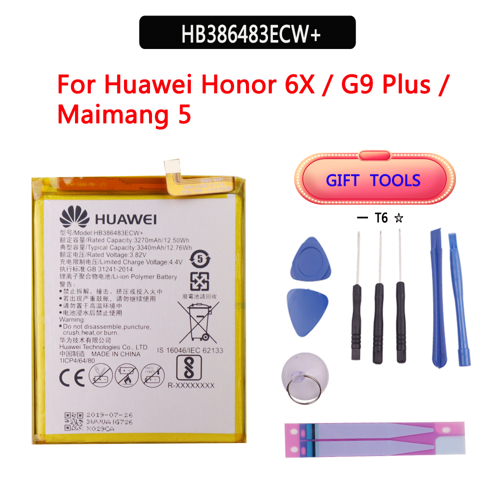 100% Original Phone Battery HB386483ECW For Huawei Honor 6X / G9 Plus / Maimang 5 / GR5 2017 3340mAh Replacement Batteries