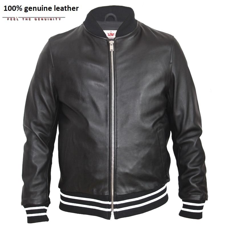 Men Leather Jacket Embroidery Soft 100% Sheepskin Casual Male Leather Clothing Boy Leather Jacket Spring Autumn M129