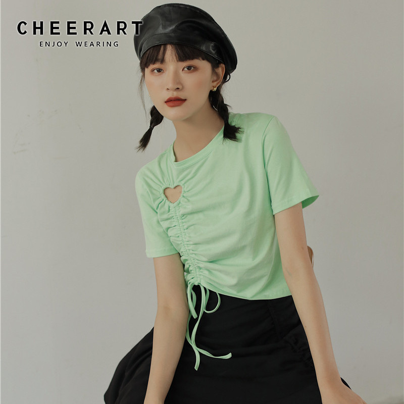 CHEERART Neon Green Drawstring Top Basic Tshirt Women Summer T <font><b>Shirt</b></font> Casual Designer <font><b>Heart</b></font> <font><b>Cut</b></font> <font><b>Out</b></font> Top Crop Tee <font><b>Shirt</b></font> Femme image