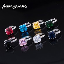 PANSYSEN Real Silver 925 Jewelry Clip Earrings For Women Square Purple Pink Red Blue Topaz Gemstone Earrings Party Wedding Gift(China)