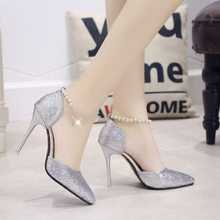New Style Thin Heeled Sequin Shoes Women's Beaded Bracelet Man-made Diamond Hallow Cover Heel Sandals Women High Heels Banquet P(China)