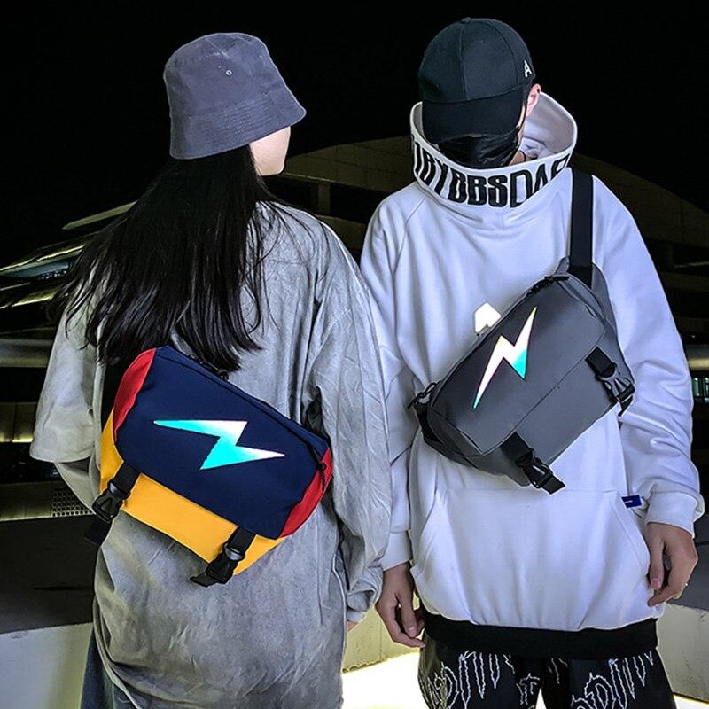Unisex Waist Bag Streetwear Reflective Fanny Pack Chest Bag Fashion Outdoor Men Crossbody Packs Large Capacity Hip Hop Bags