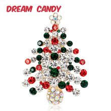 Dream Candy Exquisite Rhinestone Christmas Tree Brooches for Women Gifts for Men Jewlery Gifts Fashion Accessories New Arrival(China)