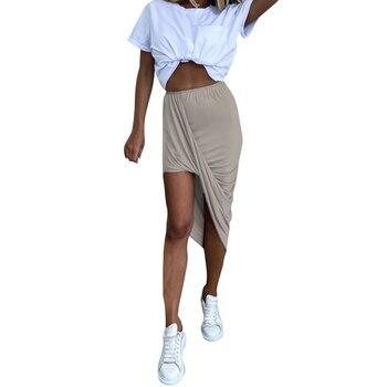 Skirts Women Streetwear 2020 Sumemr Bodycon Asymmetrical High Elastic Waist Skirt Women Midi Solid Color Skirt Korean Style Q30 vintage white plaid pleated long skirts elastic high waist women 2020 korean cotton skirt harajuku streetwear midi skirt saias