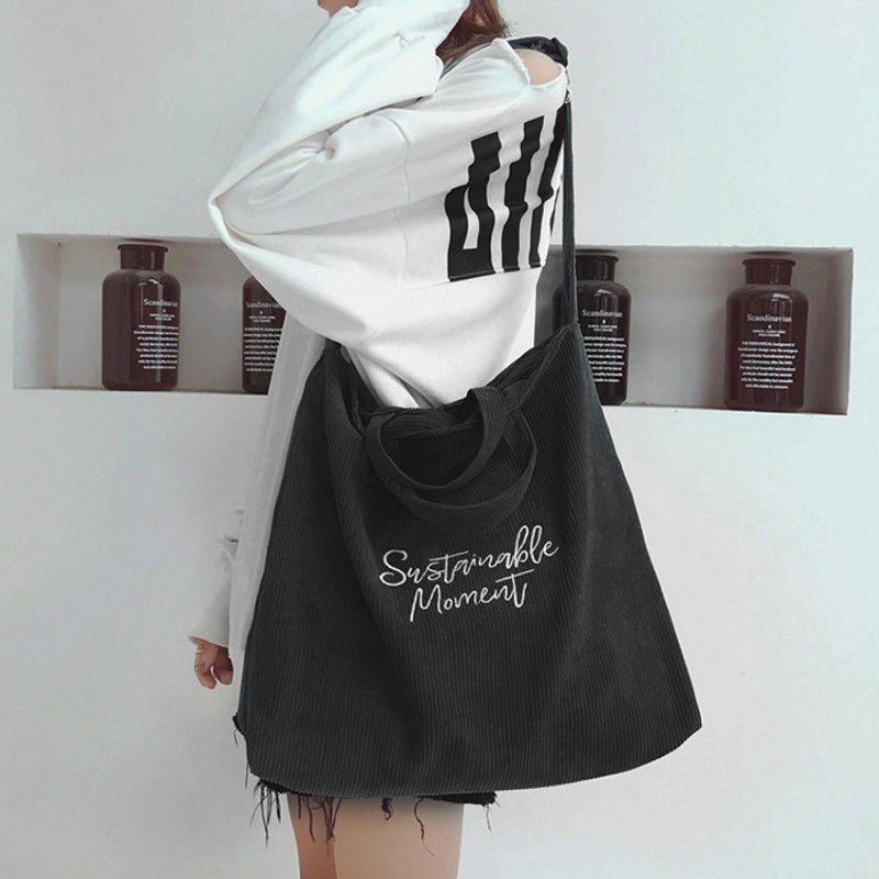 2020 New Korean Version Of Large-capacity Corduroy Shoulder Female Fashion Portable Canvas Retro Student Messenger Bag