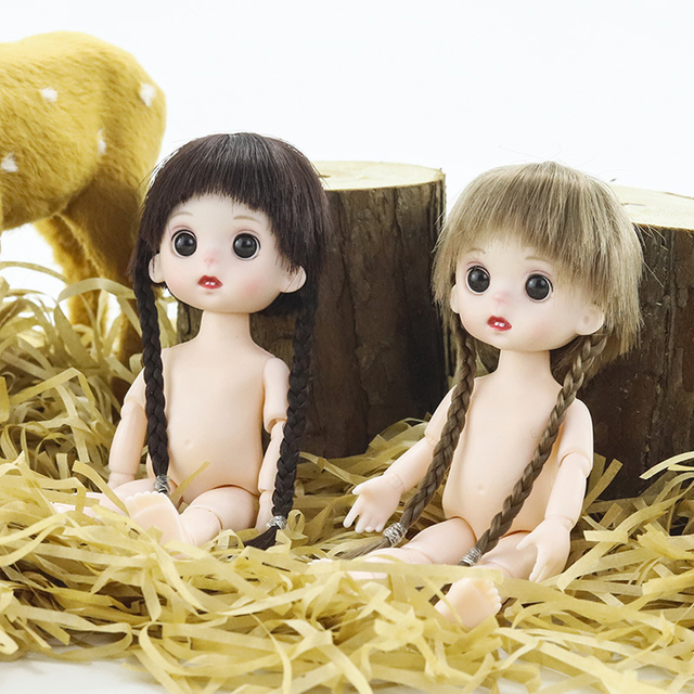 Mini Moveable Jointed Doll Toys 16cm 1/8 BJD Baby Doll Naked Doll's Practicing for Makeup Doll Head with Eyes Toys for Children 4
