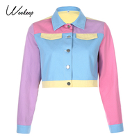 Weekeep Colorful Patchwork Streetwear Short Jacket Autumn Long Sleeve Button Cardigan Outerwear Vintage Turn-down Collar Jackets