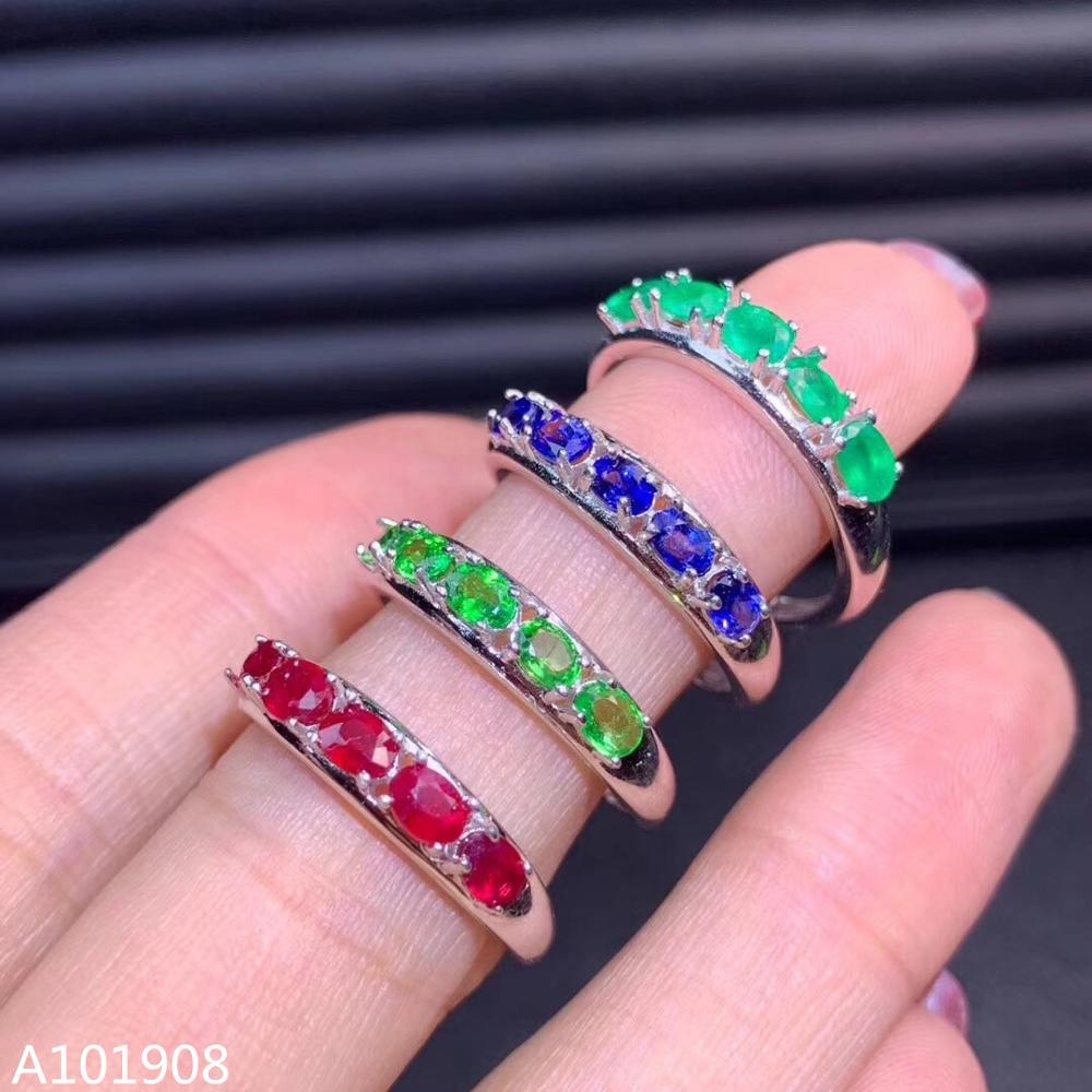 Jewelry Ruby Ring-Support-Detection Sapphire Natural Emerald 925-Sterling-Silver Inlaid