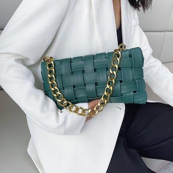 Bolso cruzado de cuero PU pequeño con diseño de tejido para mujer, bolso de hombro de lujo de Color sólido, con cadena, bolsa cruzada, 2021