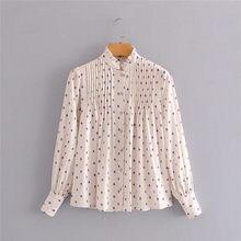 Chemisier long en coton pour femme, imprimé à pois, hauts à manches longues, simple boutonnage, mode automne décontracté