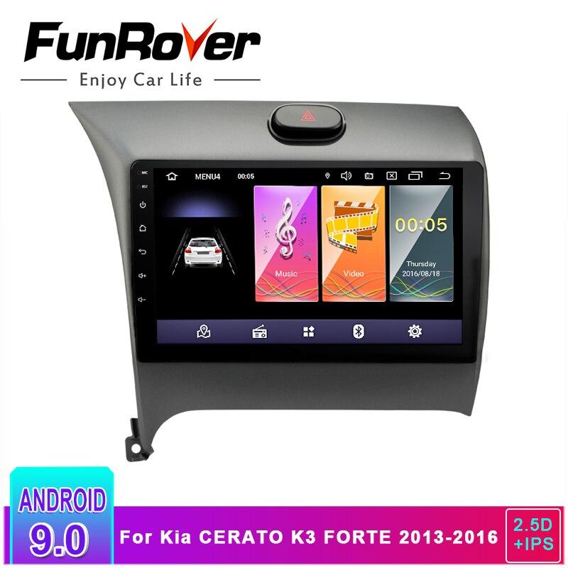 Lecteur multimédia Funrover 2.5D + IPS autoradio Android 9.0 DVD de voiture pour Kia CERATO K3 FORTE 2013 2014 2015 2016 gps navigation RDS