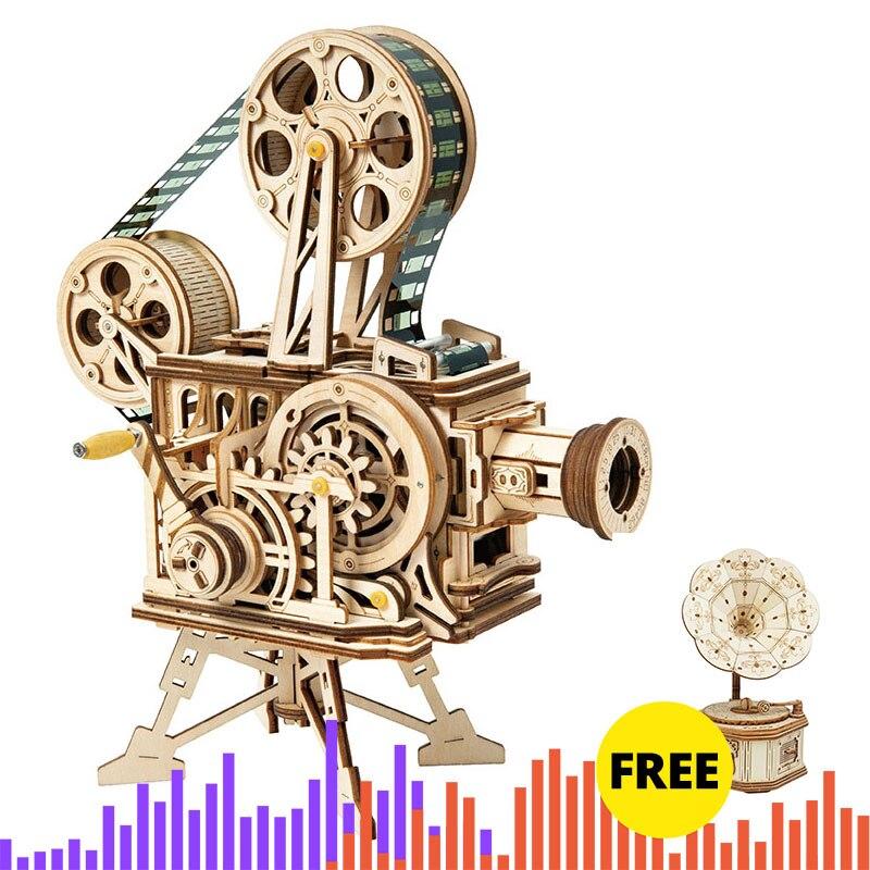 ROKR Hand Crank Projector Classic Film Vitascope 3D Wooden Puzzle Model Building Block Toys For Children Adult LK601