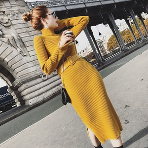 2020 Winter Dress Women Knitting O-Neck Long Sleeve Solid Color Dress Belt Sweater Dress Casual Bodycon Dress Yellow Black Brown