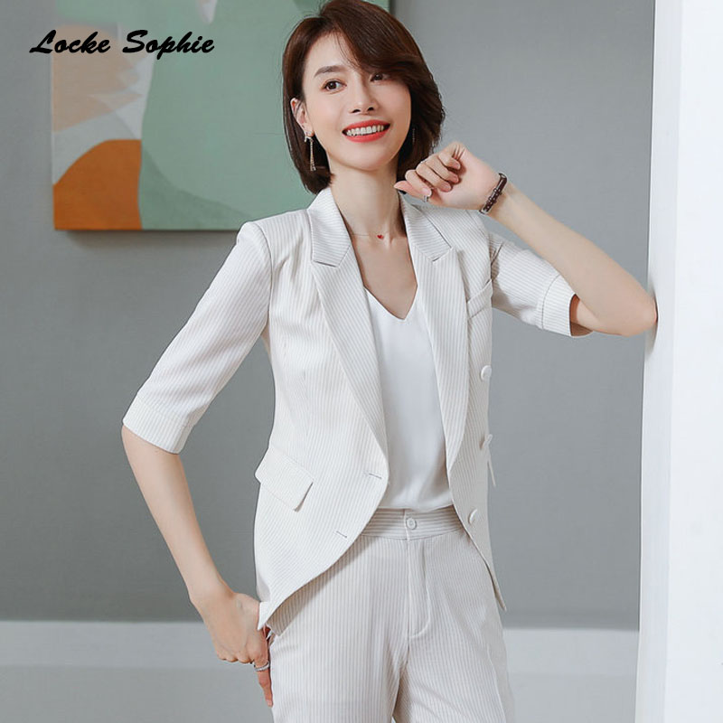 1pcs Women's Blazers Coats 2020 Summer Cotton Blend Middle Sleeve Irregular Small Suits Jackets Ladies Skinny Blazers Suits