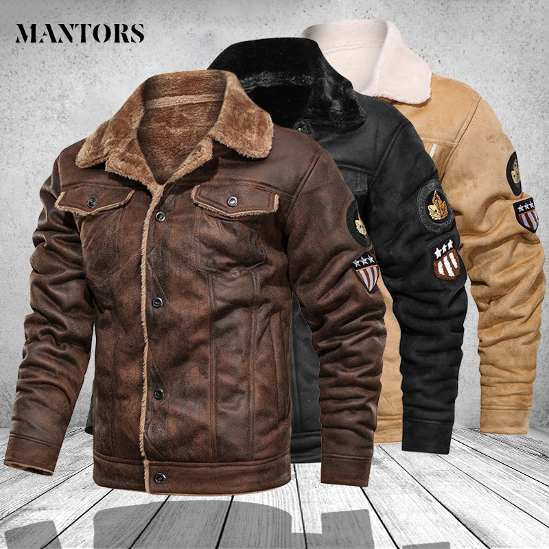 Mens Jackets Stand-Collar Pu-Coats Biker Faux-Leather Vintage Motorcycle Fashion Male