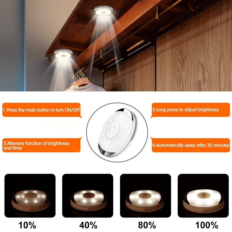 LED Puck Lights,9 Pack Wireless Led Cabinet Lights With Remote Control, Timer And Dimmer, Battery Operated(Battery Not Including
