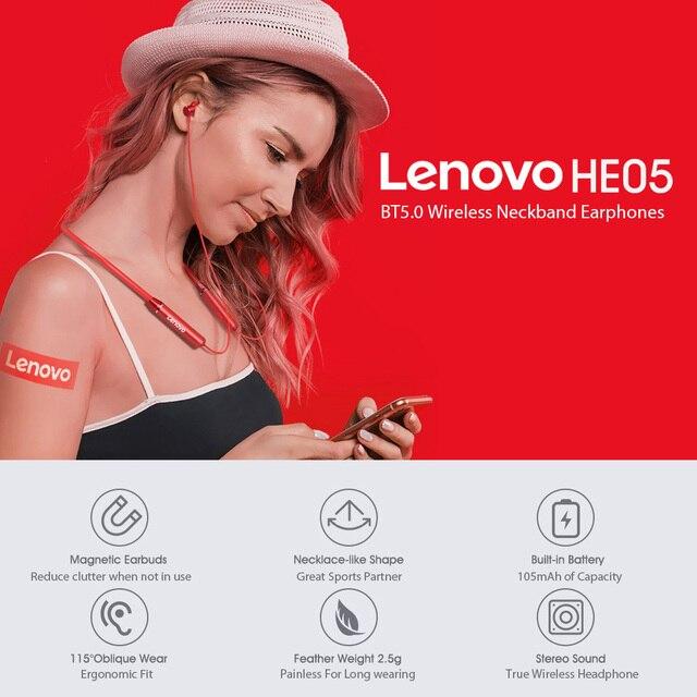 Lenovo Earphone Bluetooth5.0 Wireless Headset Magnetic Neckband Earphones IPX5 Waterproof Sport Earbud with Noise Cancelling Mic 5