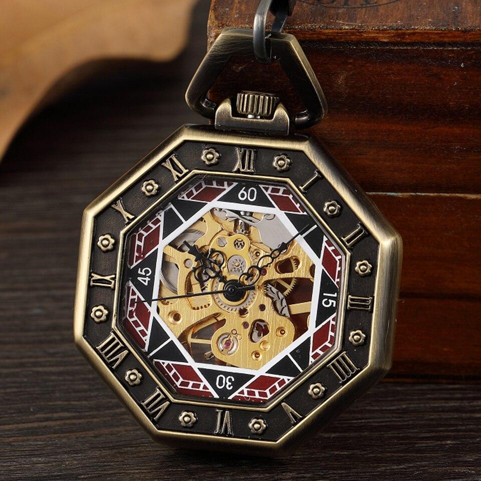 Vintage Mecânica Pocket Mão-liquidação Esqueleto Steampunk Transparente Octagon Números Romanos Homens Relógio Fob Cadeia Relógios Ver